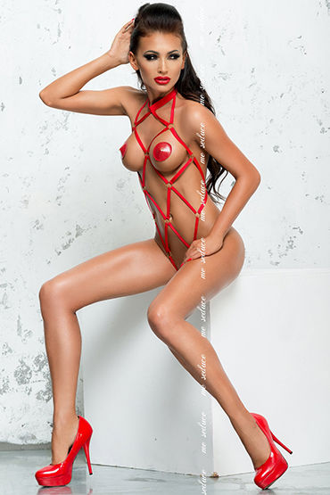 Me Seduce Anita, красное Откровенное боди из эластичных лент me seduce anita красное платье из лент и трусики стринги