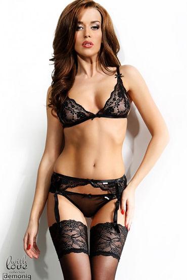 Demoniq Sarah black Комплект белья с поясом для чулок и трусиками пояса верности цвет серебристый для