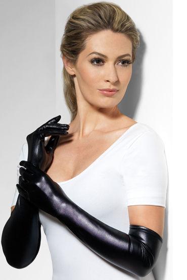Fever Wet Look Gloves Перчатки с эффектом мокрой ткани страпоны с креплениями цвет фиолетовый