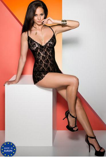 Avanua Daiva Black Сорочка и трусики soft line комплект черный длинная комбинация и стринги