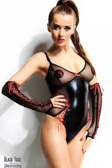 Demoniq Black Rose Hannah Страстное боди и перчатки красное боди и митенки elza s m