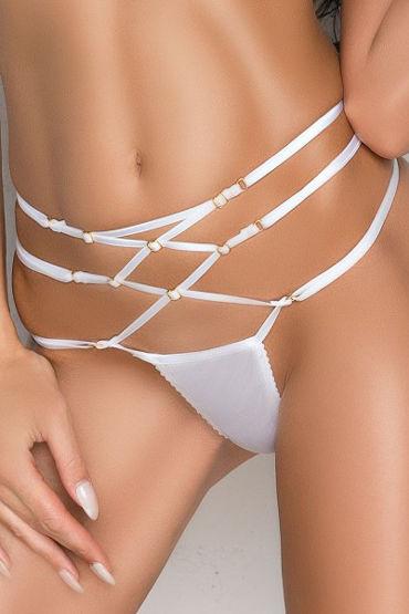 Me Seduce Rene, белые Стринги с лентами на талии le frivole щеточка для образа стильной горничной
