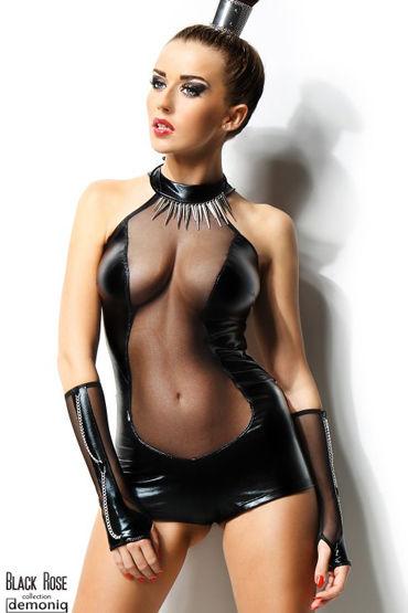 Demoniq Isabelle, черный Боди и перчатки боди demoniq nathalie s