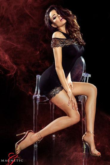 Demoniq Magnetic Marissa, черное Короткое платье с цветочной вышивкой ledapol платье черное