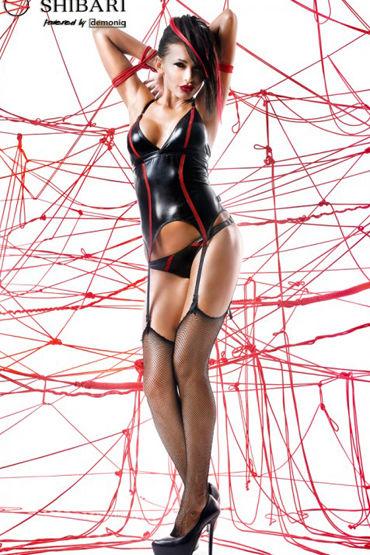 Demoniq Shibari Emi, черный Корсаж, трусики и чулки, в комплекте веревки для связывания demoniq victoria white корсаж с подвязками