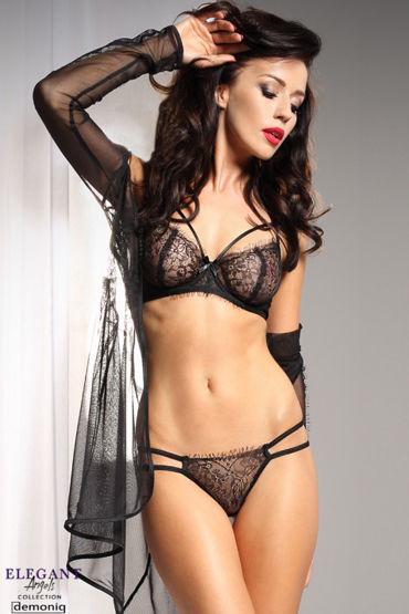 Demoniq Elegant Angels Marcelle, черный Пеньюар с кружевными вставками desire массажное масло 150 vk g