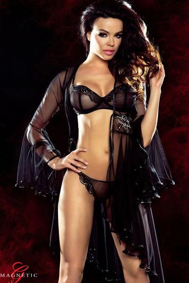 Demoniq Magnetic Cassandra, черное Пеньюар с вышивкой demoniq magnetic marissa черное короткое платье с цветочной вышивкой