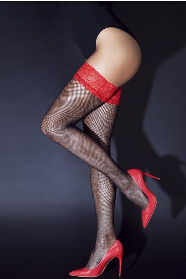 цена Le Frivole Sense Чулки с кружевной резинкой, черно-красные Из мелкой сетки без силикона онлайн в 2017 году