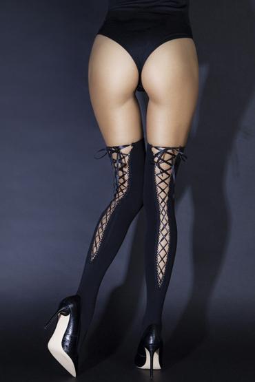 Le Frivole Sense Чулки со шнуровкой сзади, черные Из плотного материала чулки temptlife плотные со стразами черные os
