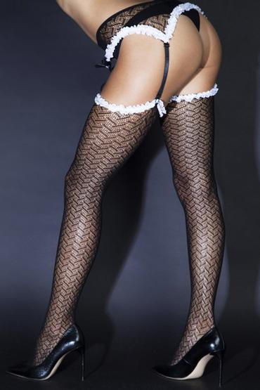 Le Frivole Sense Чулки с поясом и окантовкой, черно-белые Из сетки с привлекательным рисунком mif phallus 2 реалистичный фаллоимитатор на присоске 16 см