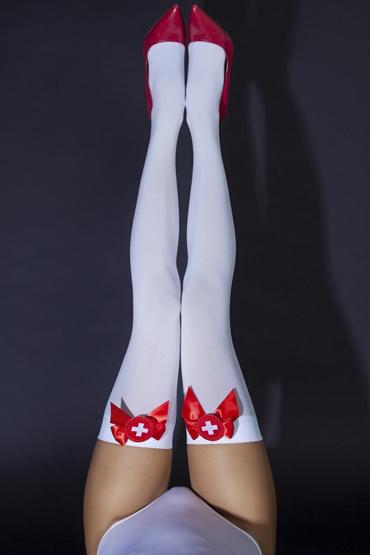 Le Frivole Sense Чулки медсестры 100 den, бело-красные C атласными бантиками эротический костюм медсестры le frivole costumes