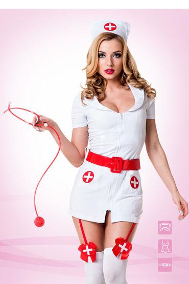 Le Frivole Похотливая медсестра Халатик, чепчик и лаковый пояс le frivole секси горничная платье головной убор воротник манжеты перчатки и чулки