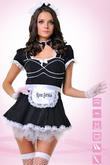 Le Frivole Служанка Платье с фартуком, перчатки, чулки и аксессуары ду frivole платье с вырезами 0
