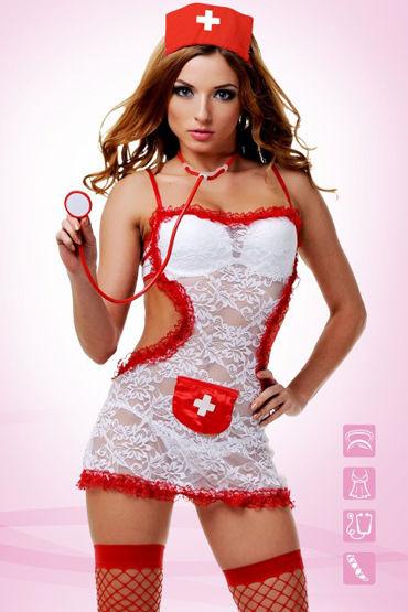 Le Frivole Соблазнительной медсестры Платье-фартук, чулки, чепчик и стетоскоп костюм le frivole соблазнительной медсестры m l