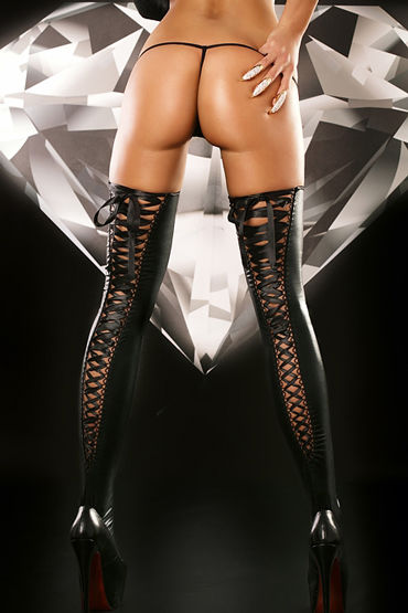 Lolitta Lacing Stockings, черные Чулки на черной шнуровке pipedream inflatable love lounger секс машина с надувной кушеткой