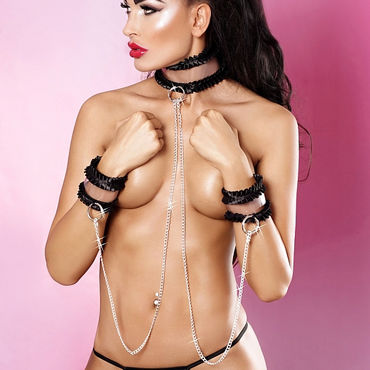 Lolitta Frivolous Collar With Cuffs, черный Ошейник с наручниками стандартного размера тест на беременность фраутест экспресс