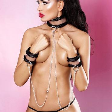 Lolitta Frivolous Collar With Cuffs, черный Ошейник с наручниками стандартного размера x play collar with d ring ошейник с кольцом