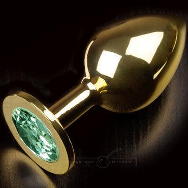 Пикантные штучки Большая анальная пробка, золотая С изумрудным кристаллом пикантные штучки большая анальная пробка золотая с прозрачным кристаллом