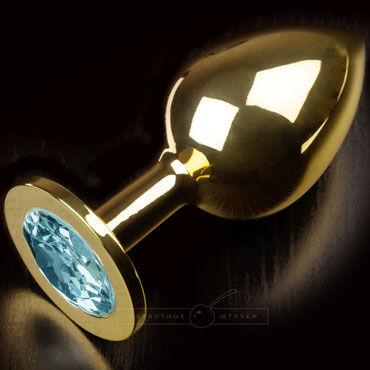 Пикантные штучки Большая анальная пробка, золотая С голубым кристаллом пикантные штучки большая анальная пробка золотая с прозрачным кристаллом