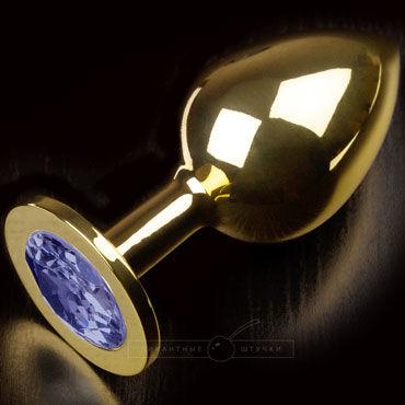 Пикантные штучки Большая анальная пробка, золотая С синим кристаллом lovetoys butt plug silver розовый большая анальная пробка украшена кристаллом