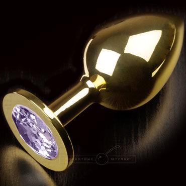 Пикантные штучки Большая анальная пробка, золотая С сиреневым кристаллом пикантные штучки большая анальная пробка золотая с прозрачным кристаллом