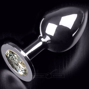 Пикантные штучки Большая анальная пробка, серебристая С прозрачным кристаллом lovetoys butt plug silver розовый большая анальная пробка украшена кристаллом