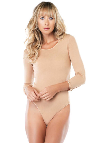 Leg Avenue Long Sleeved Bodysuit, бежевый Боди с длинными рукавами leg avenue мини платье с длинными рукавами