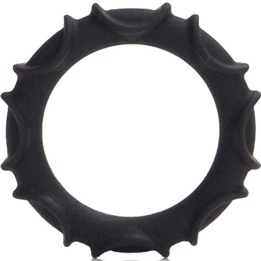 """California Exotic Atlas Silicone Ring, черное Эрекционное кольцо california exotic posh silicone """"o"""" beads оранжевый две анальные цепочки"""