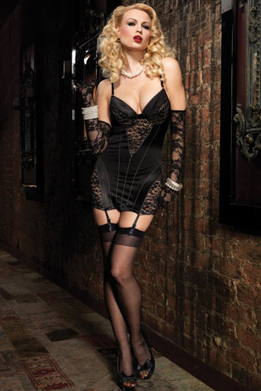 Leg Avenue мини-платье С ажурными вставками leg avenue комплект пеньюар в полосочку и стринги