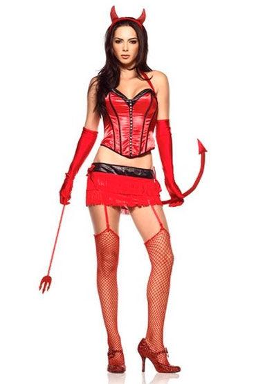 Leg Avenue Красный дьявол Очаровательный эротический наряд leg avenue комплект пеньюар в полосочку и стринги