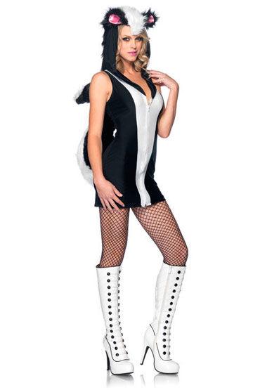 Leg Avenue Скунс С капюшоном и пушистым хвостом leg avenue помощница капитана платье со шнуровкой и шапочка