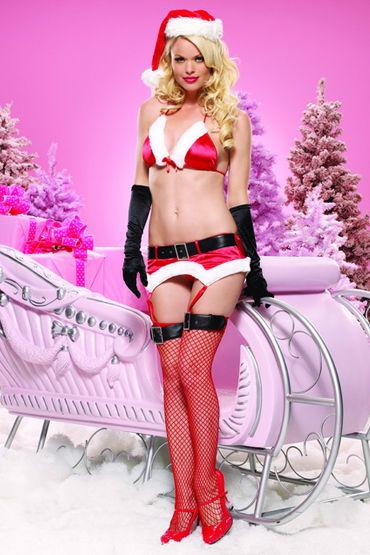 Leg Avenue комплект, красный Яркое и красивое новогоднее белье leg avenue комплект пеньюар в полосочку и стринги