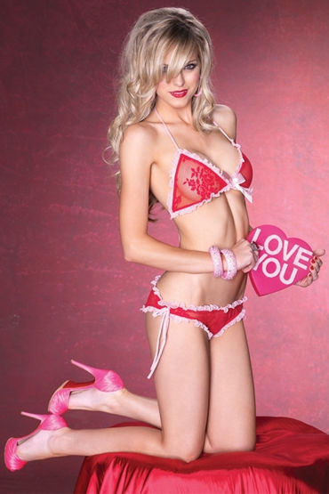 Leg Avenue комплект, красный Полупрозрачный, с рюшами leg avenue мини платье с атласным бантиком