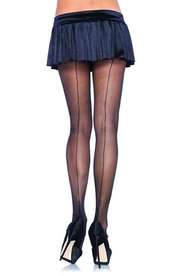 Leg Avenue колготки, черные Со швом сзади ns novelties luna balls черная анальная пробка среднего размера