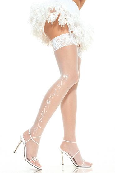 Leg Avenue чулки, белые С вышивкой и ажурной резинкой coquette чулки белые с простой резинкой