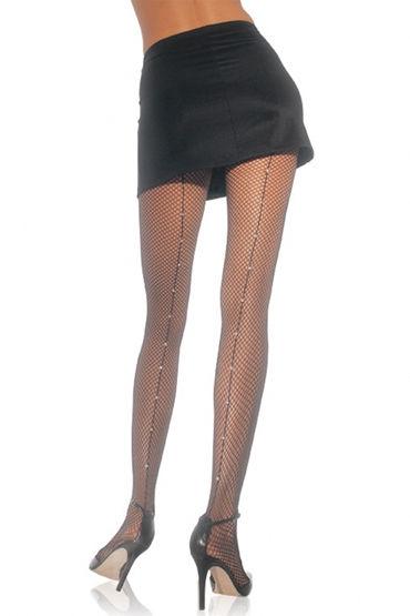 Leg Avenue колготки, черные Со стразами по шву leg avenue fishnet mini dress with bodice зеленое миниплатье сетка
