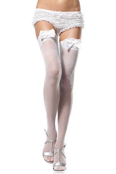 Leg Avenue чулки, черные С очаровательными бантиками leg avenue мини платье с атласным бантиком