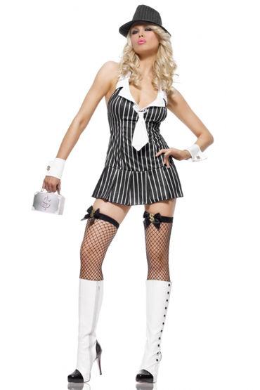 Leg Avenue Мисс Мафия, черно-розовый С галстуком и манжетами soft line трусы с сетчатой вставкой