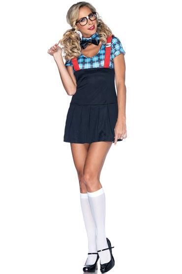Leg Avenue Развратная Cтудентка Платье, галстук-бабочка, очки и трусики