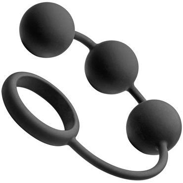 Tom of Finland Silicone Cock Ring with 3 Weighted Balls, черные Анальные шарики с эрекционным кольцом анальные шарики tom of finland weighted anal balls