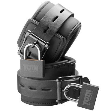 Tom of Finland Neoprene Wrist Cuffs, черные Наручники с замками мягкий лубрикант aqua sensitive 120 ml
