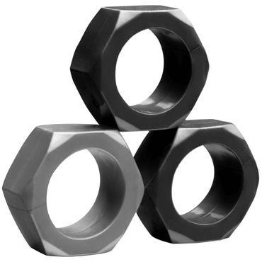 Tom of Finland 3 Piece Cock Nuts, черный Комплект из эрекционных колец анальный вибратор tom of finland гладкий