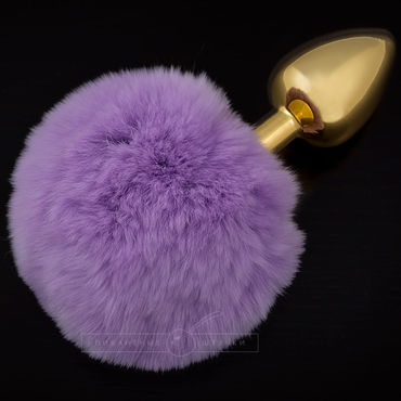Пикантные штучки Маленькая анальная пробка, золотая С пушистым фиолетовым хвостиком ouch wooden bridle с фиолетовым ремешком кляп в форме палочки