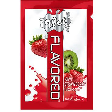 Wet Flavored Kiwi Strawberry, 3 мл Лубрикант с ароматом клубники и киви wet flavored raspberry pomegranate 102 мл лубрикант с ароматом граната и малины