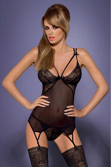 Obsessive Intensa Corset, черный Полупрозрачный корсет корсет и стринги passion lotus corset размер 2xl 3xl цвет кремовый