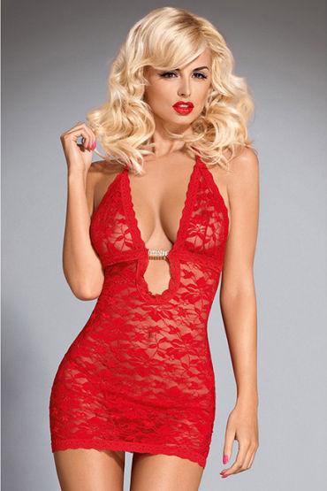 Obsessive Brilliant Jennifer, красное Мини платье с глубоким декольте подвязки материал полиэстер ral