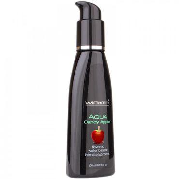 Wicked Aqua Candy Apple, 120мл Съедобный лубрикант со вкусом яблока в карамельной глазури joy nmore adel изящное виброяйцо с пультом управления
