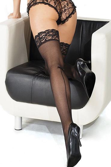 Coquette Чулки, черные С декоративным швом и кружевной резинкой