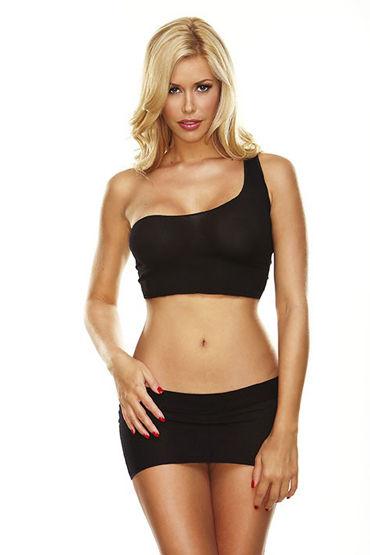 Hustler Черный комплект Мини-юбка и кроп-топ на одно плечо юбка l077 2015