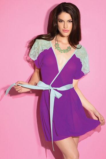 Coquette Халатик цвета лилии и мяты С кружевными вставками